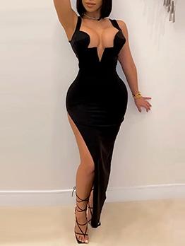 Sexy Irregular Black Sleeveless Dress