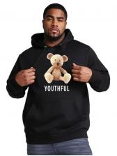 Cartoon Bear Print Pullover Hoodie For Men