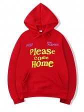 Please Come Home Letter Print Mens Hoodie