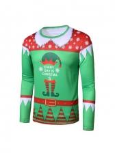 Crew Neck T-Shirt Christmas Printing For Men