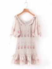 Off Shoulder Floral Ruched Short Dress For Summer