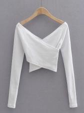 Cross V Neck Skinny Long Sleeve T-Shirt