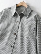 Irregular Hem Single-Breasted Shirt Dress Fashion