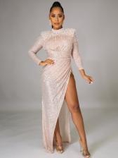 Faux Pearl Decor High Split Hem Sequin Evening Dress
