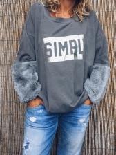 Letter Print Faux Fur Patchwork Sweatshirts For Women