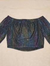 Glitter Off Shoulder Crop Top And Pant Set