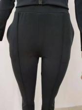 Pure Color Zipper Up Womens Workout Clothes