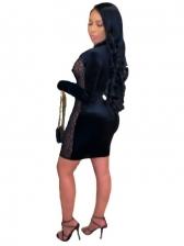 Euro Gauze Patchwork Long Sleeve Bodycon Dress