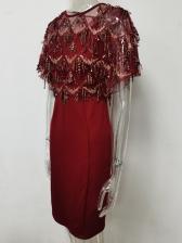 Sequined Tassels Patchwork Short Sleeve Dress