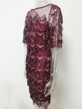Trendy Tassels Sequined Gauze Party Wear Dress