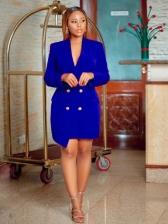 OL Style Solid Long Sleeve Blazer Dress