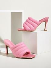 Versatile Square Toe High Heel Ladies Slippers