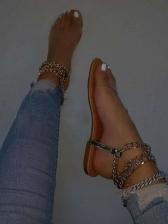 Stylish Round Toe Chain Strap Summer Sandals