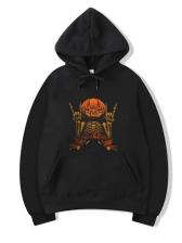 Halloween Pumpkin Print Pullover Hoodie