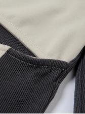Square Neck Long Sleeve Contrast Color T-Shirt