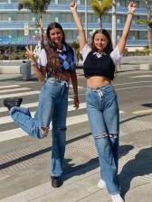 High Waist Hollow Out Straight Denim Jeans