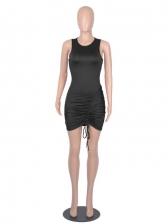 Sexy Slim Solid Pleated Sleeveless Bodycon Dress