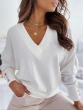 Spring Solid V Neck Versatile Basic T-Shirt