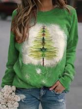 Christmas Printed Crew Neck Sweatshirt Women