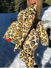Fashion Leopard Print Zipper Jumpsuit