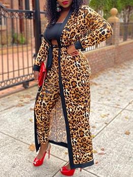 Fashion Leopard V Neck Long Coat
