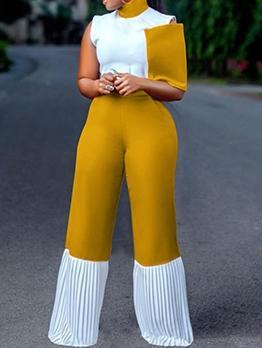 Euro Color Block Pleated Wide Leg Women Jumpsuit