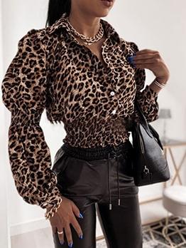 Stylish Leopard Printed Puff Long Sleeve Blouse