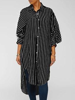 Striped Long Sleeve Mini Shirt Dress Casual