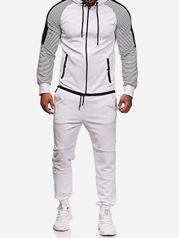Striped Long Sleeve Zipper Up Hoodie Coat Sets