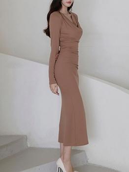 Elegant Solid Women Long Sleeve Maxi Dress