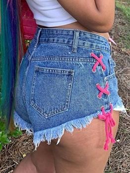 Chic Lace Up Ragged Hem Denim Shorts