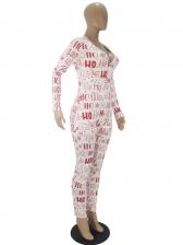 Sexy Deep V Neck Printing Christmas Pajama Jumpsuit