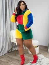 Colorblock Velvet Two Piece Shorts Set