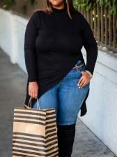 Plus Size Split Hem Long Sleeve Black Long T-Shirt