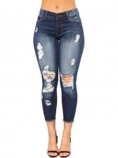Fashion Mid Waist Distressed Pencil Jeans