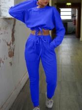Pure Color Elastic Waist Crop Sweatshirt Sets