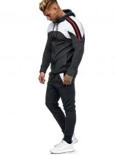 Colorblock Zipper Up Two Piece Tracksuit For Men