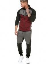 Contrast Color Fleece Men's Athletic Wear Casual