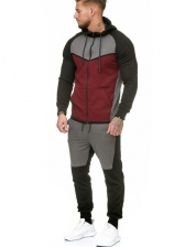 Contrast Color Fleece Men's Athletic Wear Casual