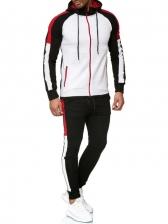 Plus Size Contrast Color Zipper Up Coat With Jogger Pants
