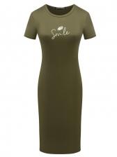 Simple Style Printed Short Sleeve T Shirt Dress