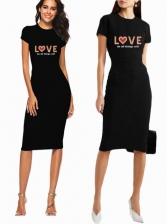 Letter Print Short Sleeve T Shirt Dress