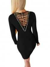 Beads Decor Hollow Out Long Sleeve Dress