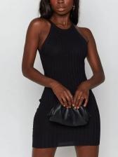 Chic Cross Backless Sleeveless Bodycon Dress
