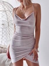 Irregular Tie Wrap Backless Short Sleeveless Dress