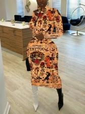 Autumn High Neck Printed Long Sleeve Midi Dress