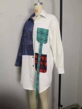 Color Block Print Long Sleeve Shirt Dress