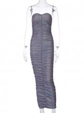 Glitter Strapless Off Shoulder Ruched Maxi Dresses
