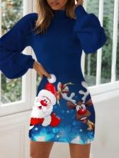Christmas Santa Claus Lantern Long Sleeve Dress