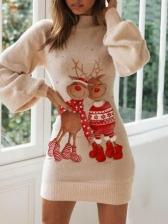 Christmas Deer Printed Lantern Long Sleeve Dress